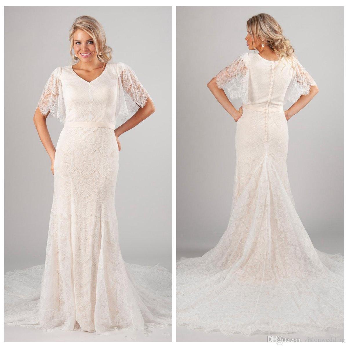 V-Neck Short Sleeve Backless Wedding Dress