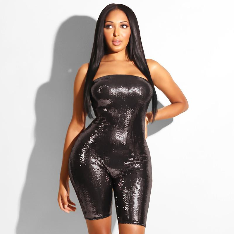 4cdcc43a006 2019 Women Sexy Romper Glitter Bling Strapless Sleeveless Backless Elastic Bodycon  Sequin Playsuit Party Clubwear New Short Jumpsuit From Housecoat