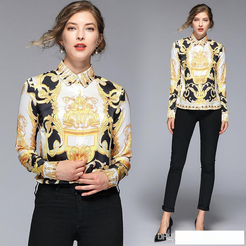 2019 Runway Luxury Palace Style Baroque Print Slim Long Sleeve Shirts Blouses Womens Ladies Casual Office Button Front Lapel Neck Tops New