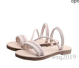 Flat bottom sandals female summer 2019 new wild Korean version of the leather wear a pair of shoes wearing two cool slippers