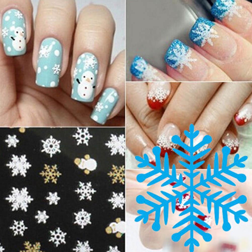 New 3D Nail Art Tips Christmas Snowman Snowflakes Design Nail Decals Girl Xmas Decor Nails Stickers Accessories Nail Art Tool D19010803 Vinyl Wall Art Nail ...