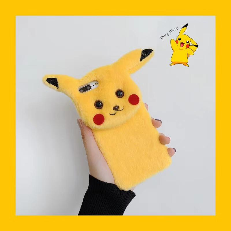 luxury designer phone cases for iphone 11 pro max 7 8 plus Fashion cartoon pikachu Plush phone case for iphone X XR XS MAX