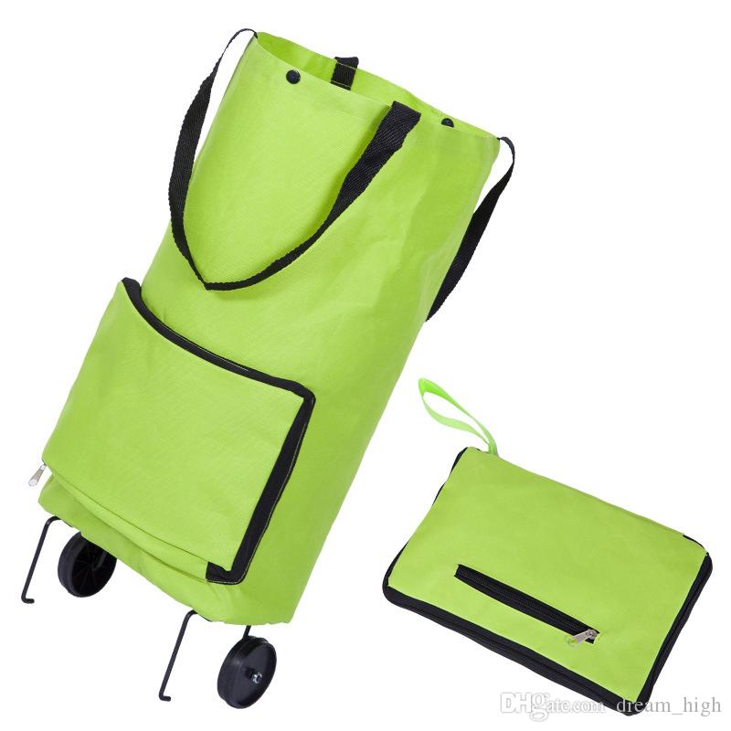 4885350dbfb3 Lightweight Foldable Shopping Bag with Wheels Folding Bag Traval Luggage  Cart Home Folded Tug Storage Bags