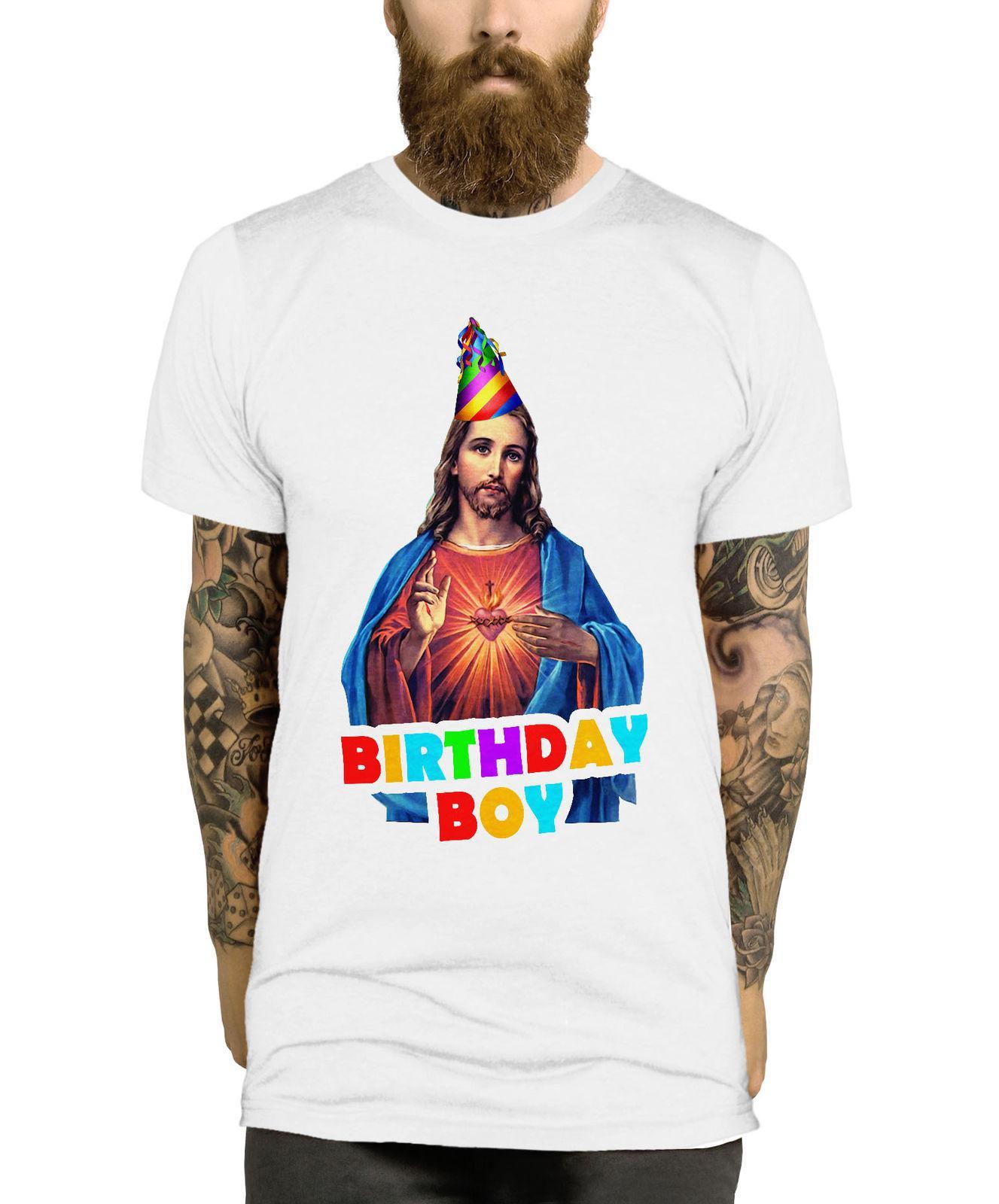 Grosshandel Birthday Boy Weihnachten T Shirt Lustige Jesus Parodie Herren Damen Kinder Top L345 Herrenbekleidung Shirts Manner Hot