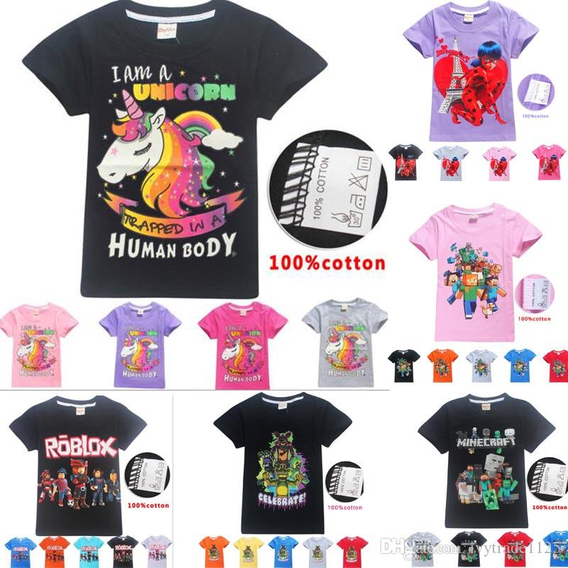 unicorn kids girl Teenager clothes T shirt kids ROBLOX design Short Sleeve  boy shirt 100% cotton summer t shirt size 6-14T