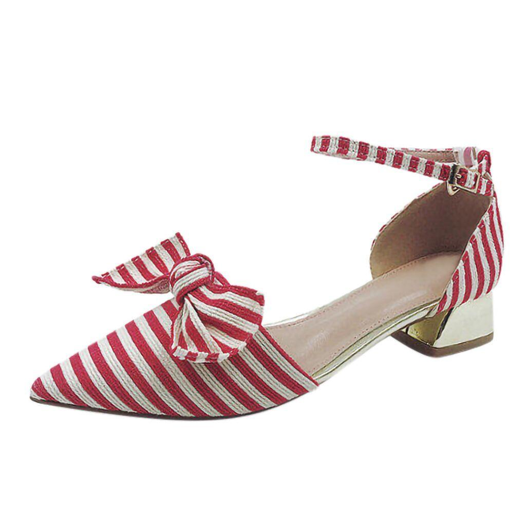 476978f4eaf Designer Dress Shoes New Woman Fashion Pointed Toe Shallow Mouth Striped Bow  Wild Single Ladies Thick Heel Sandals Zapatos De Mujer Sperry Shoes Silver  ...