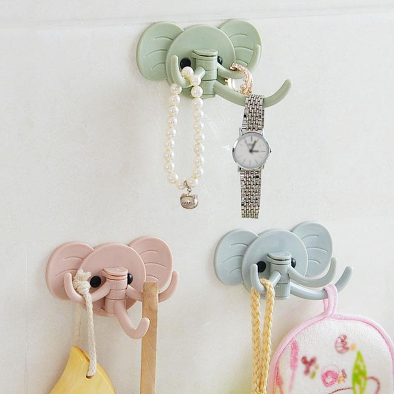 Originality Lovely Elephant Cartoon Strong Self-Adhesive Wall Hook Hanger Bag Keys Bathroom Kitchen Sticky Towel