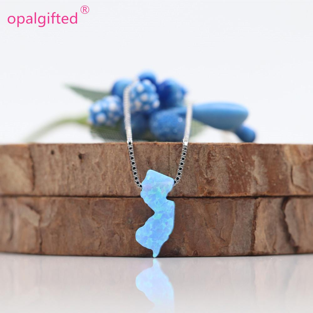 0e2859743 2019 OP06 Light Blue 5.6X13mm NJ Opal Necklace 925 Sterling Silver New  Jersey NJ Fire Opal Pendant NJ Map Opal Necklace From Tengdingring, $17.04  | DHgate.