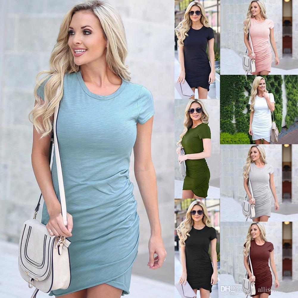 7fb023470b9 Temperamental Dress Lady Women Clothes Slim Hip Dresses Short Sleeve ...