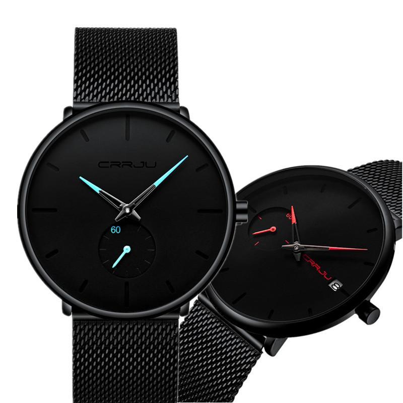 CRRJU Reloj de Moda Impermeable Correa de Malla Minimalista Relojes de Pulsera Para Hombres Mujeres Reloj Deportivo de Lujo Reloj de Pareja Conjunto