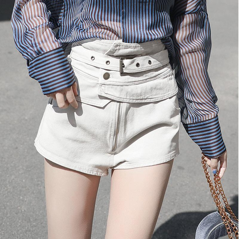 Love2019 Waist White Shorts Bf Suit-dress Spring Clothes Pattern Tide. Original The Night Wind Summer Pop Cool Time Pants