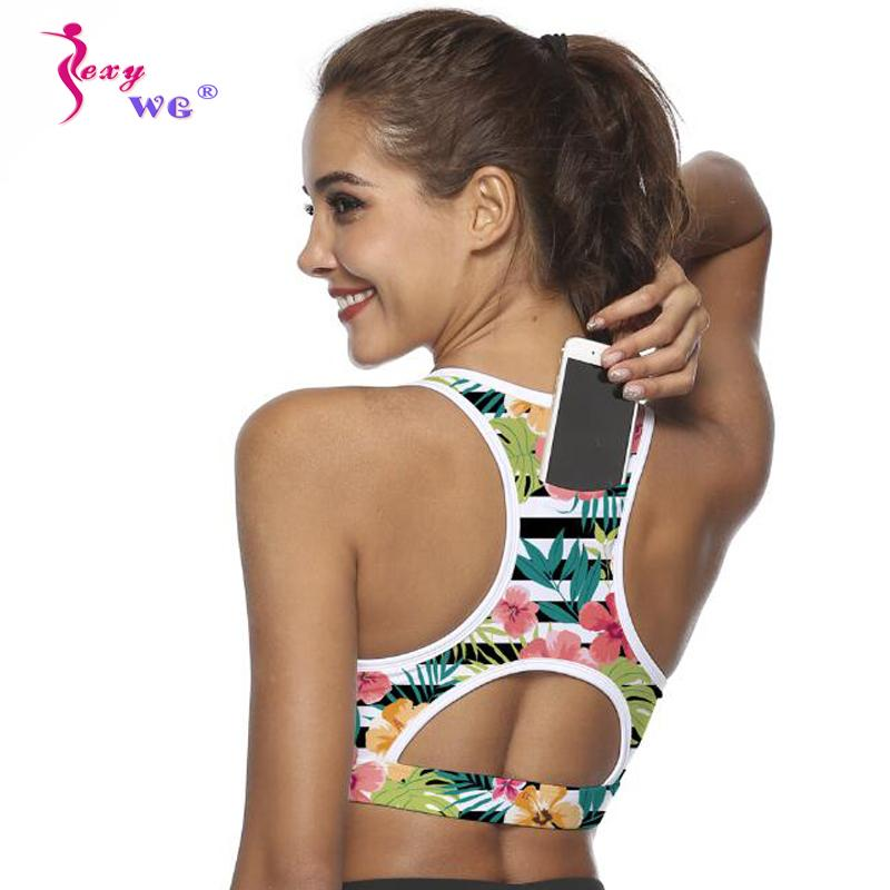 69ba1756e8c 2019 SEXYWG Top Women Sports Bra With Phone Pocket Compression Push Up  Underwear Top Female Gym Fitness Running Yoga Bh Sport Bra XL From  Peachguo
