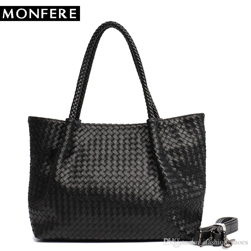 55162d1ffea1 MONFERE Women PU Leather Casual Handbags Handmade Woven Tote Bag Female  Vintage Shoulder Bag Retro Large Capacity Messenger Bags #94410 Ladies Bags  Backpack ...