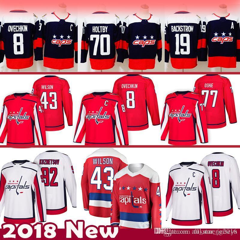2019 Cheap 8 Alex Ovechkin 43 Tom Wilson Washington Capitals Hockey Jersey  92 Evgeny Kuznetsov 77 TJ Oshie 70 Braden Holtby 19 Nicklas Backstrom From  ... 1eebe14f0