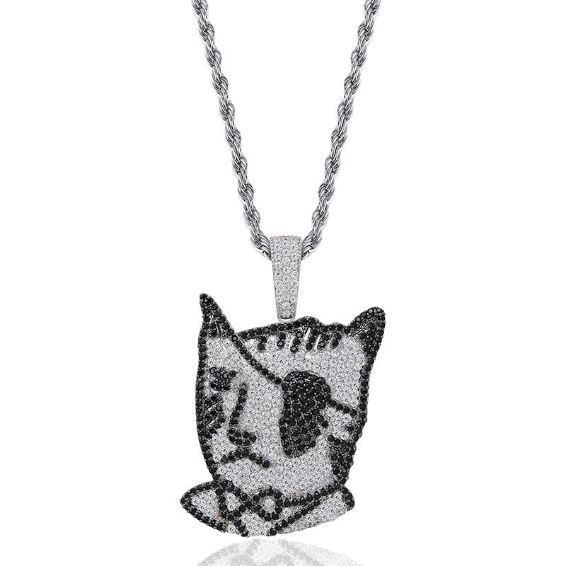 Pirate one-eyed cat Pendants Designer Necklace Mens Hip Hop Jewelry 18K Gold Plated Summer Fashion Gold Necklaces