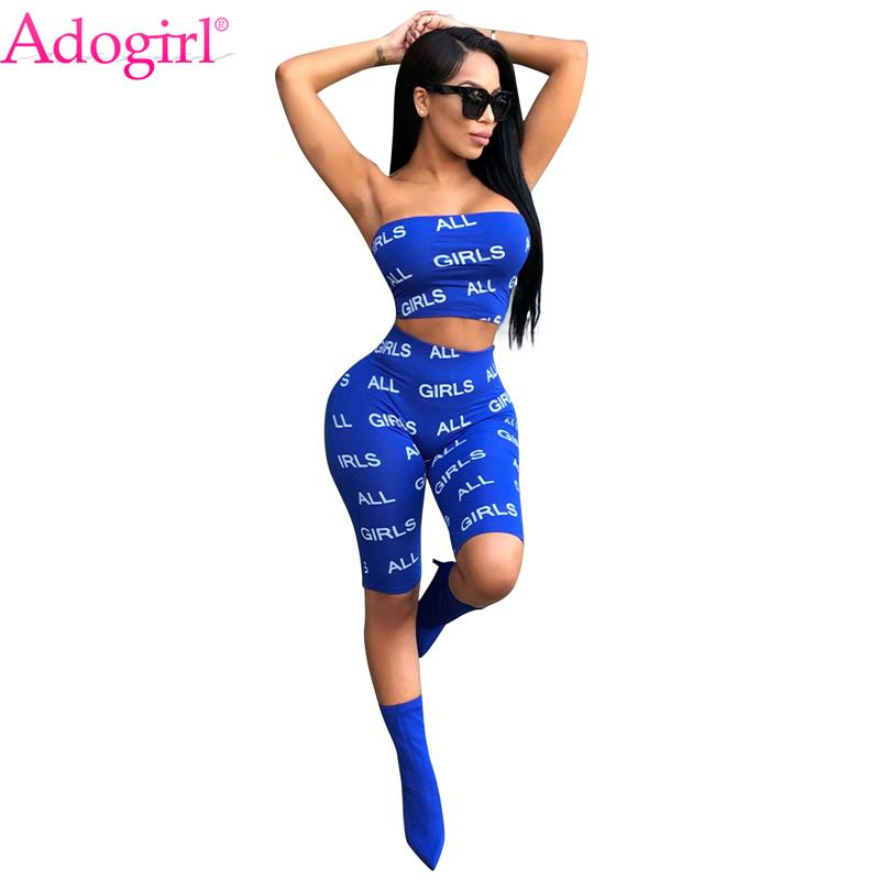 9102f20b794 2019 Adogirl All Girls Letters Print Women Tracksuit Strapless Crop ...
