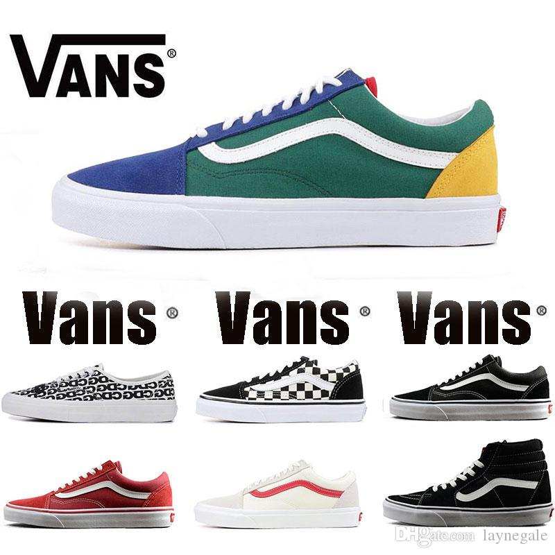 c29a500b29 2019 New Original Vans Old Skool Sk8 Hi Mens Womens Canvas Sneakers Black White  Red YACHT CLUB MARSHMALLOW Fashion Skate Casual Shoes Size 36 44 From ...