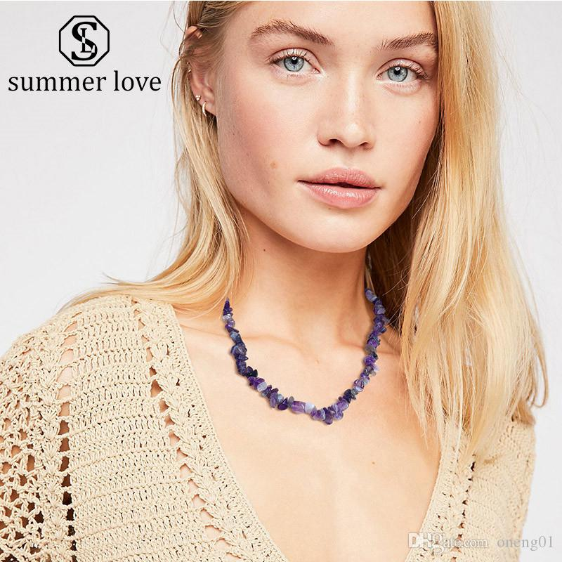 Women Natural Irregular Gravel Stone Charm Necklace 8 Color Handmade Braided Choker Necklace Fashion Jewelry Gift