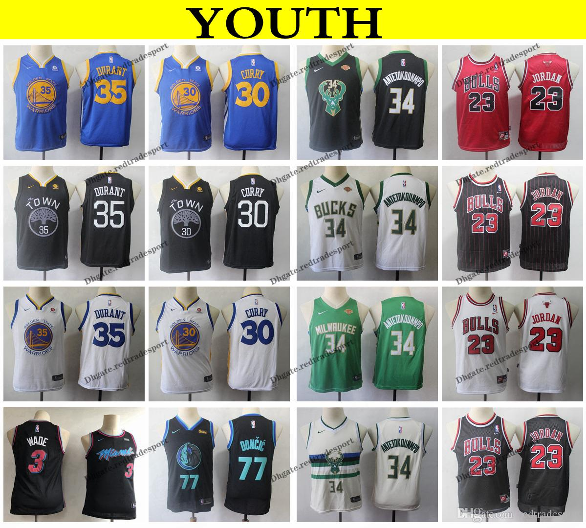the latest 21807 09ad9 2019 Kids Miami Dwyane Wade Heat Vice Dallas Luka Doncic Mavericks  Basketball Jerseys Michael Stephen Curry Kevin Durant Antetokounmpo Youth