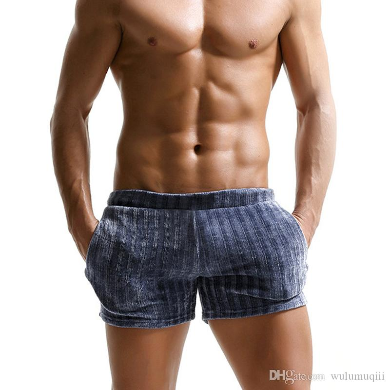 Summer cozy shorts men sexy striped sleep bottoms for male homewear sheer mens short pants