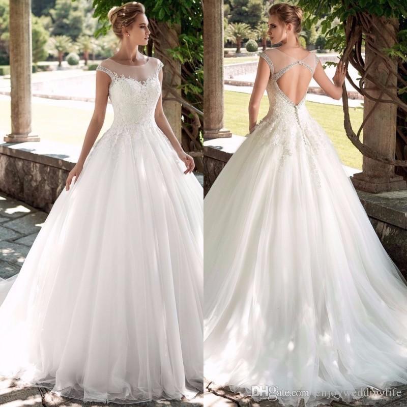 Vestidos De Novias Vintage Scoop Beading Wedding Dress Satin Floral Bridal Gowns