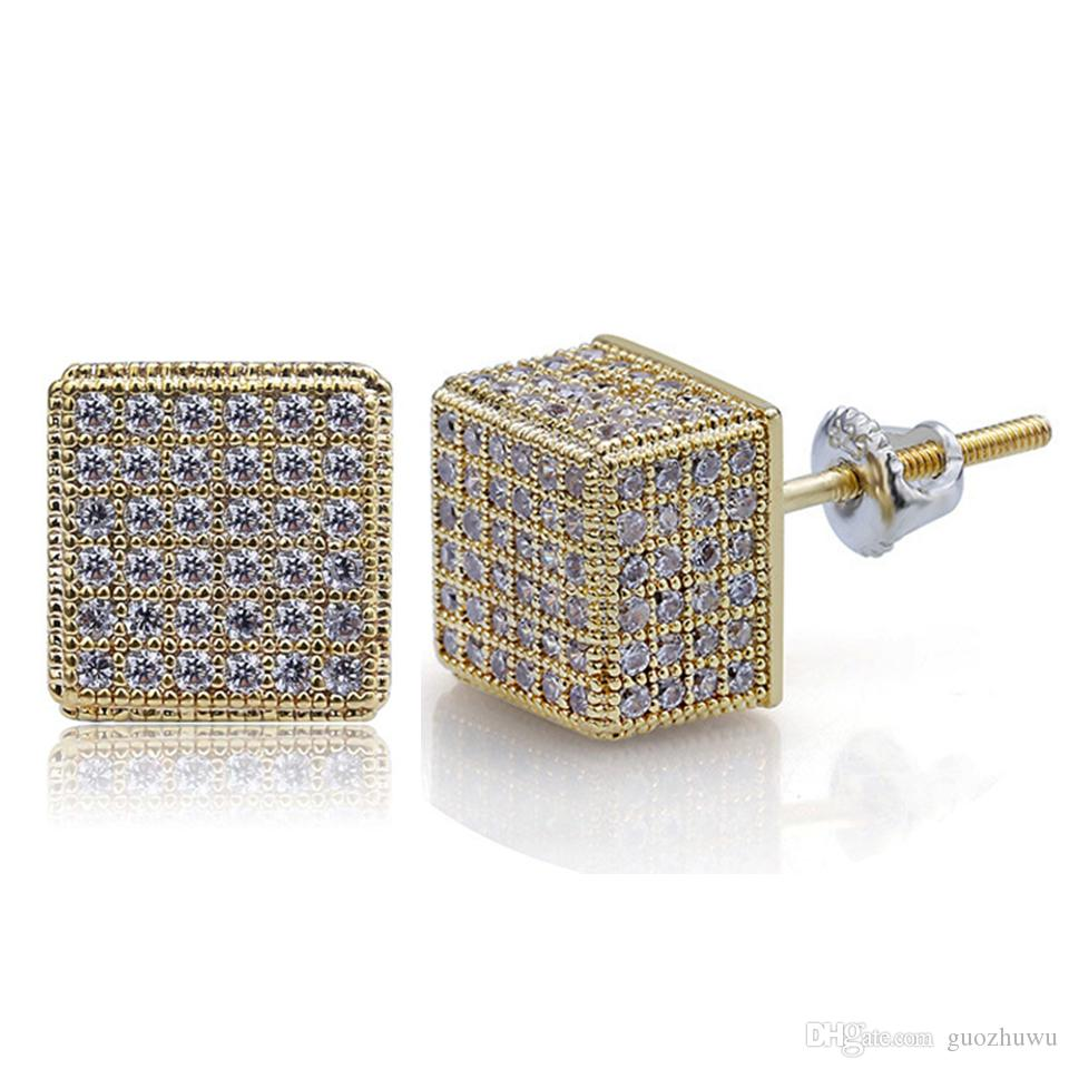 18K Real Gold Punk Rock Hip Hop Cubic Zirconia Square Stud Earrings ... 0c5f8406e