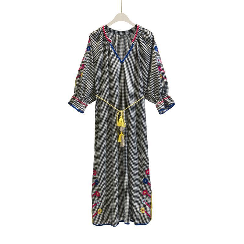 bbf3b5cd8c491 Vintage Chic vestidos Boho dress linen cotton plaid Floral embroidery beach  Bohemian maxi dress Ladies V neck Summer