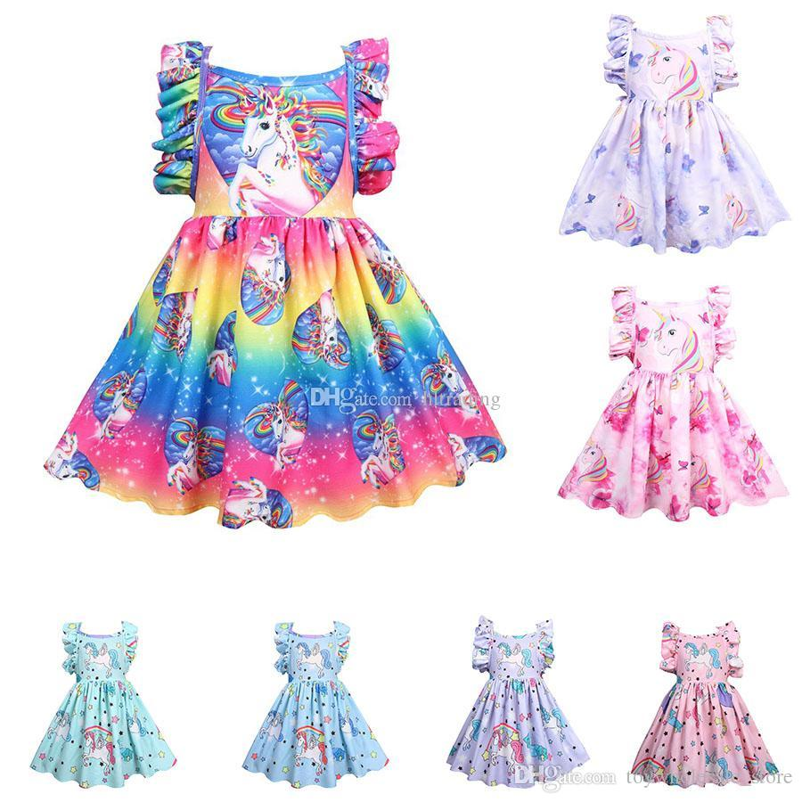 ee419904046c 2019 Baby Girls Rainbow Unicorn Dress Children Backless Flying Sleeve  Princess Dresses Cartoon Summer Boutique Kids Clothes C5583 From  Toywholesale_store, ...