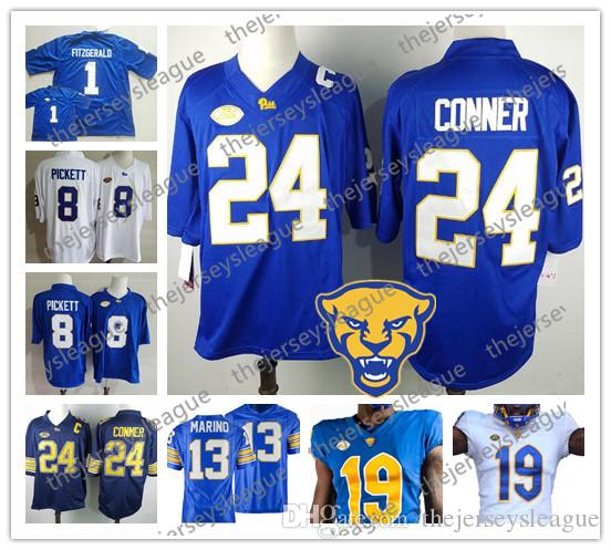 finest selection ef96f 276ca Pittsburgh Panthers Pitt 2019 #24 James Conner 8 Pickett 1 Larry Fitzgerald  Royal Blue White Stitched NCAA College Football Jersey