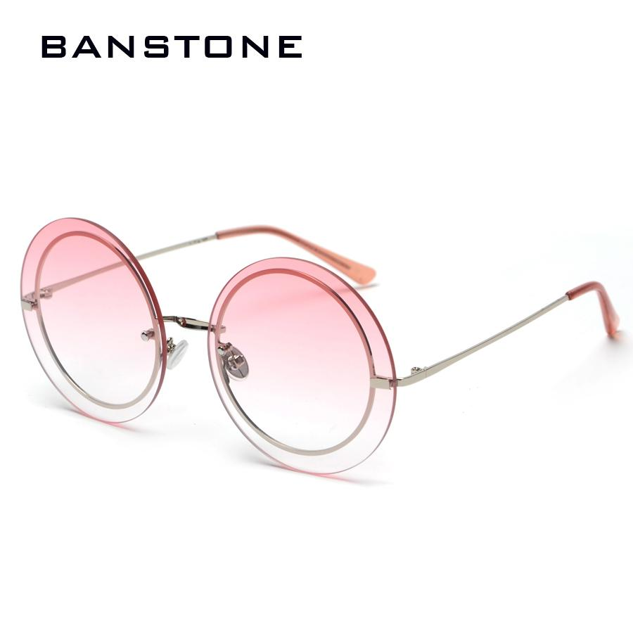eaac9e42cf Fashion Vintage Round Rimless Clear Oversized Sunglasses Women Brand  Designer Sun Glasses Metal Frame Retro Gradient Glasses Online with   26.65 Piece on ...