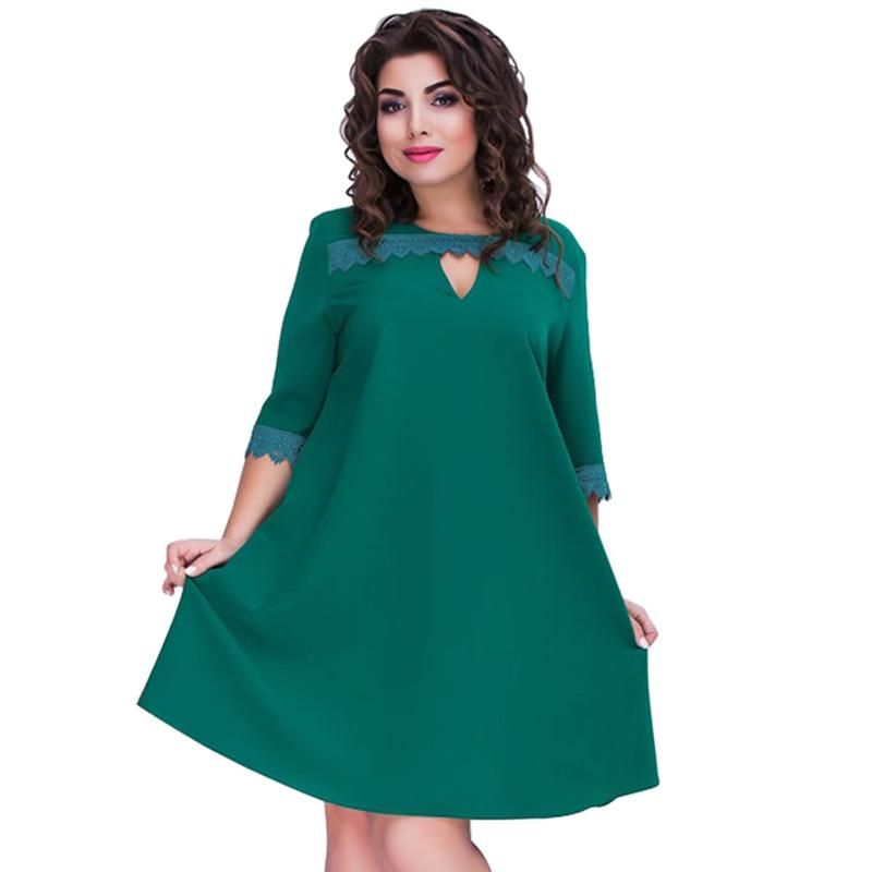 d119d8227807 Plus Size Dresses For Women 4xl 5xl 6xl Women Big Size Loose Dress Lace  Splice Half Sleeve O Neck Elegant Midi Party Dress Green Party Dresses  Junior Short ...