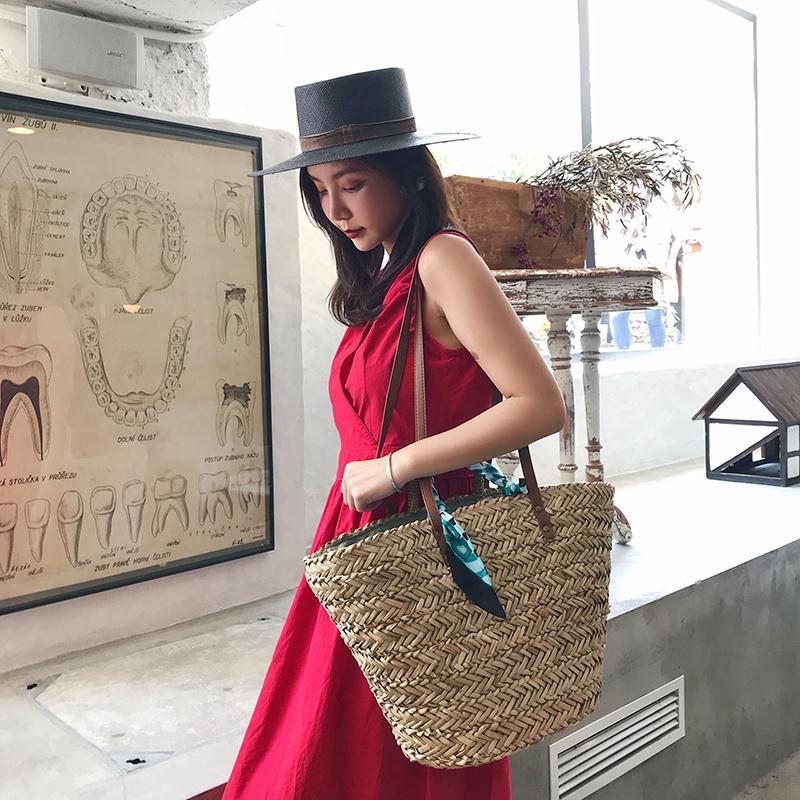 Rodada Sacos De Palha Marroquino Palm Basket Bag Mulheres Mão Tecido De Praia Saco Natural Oval Grande Grande Tote Círculo Bolsa
