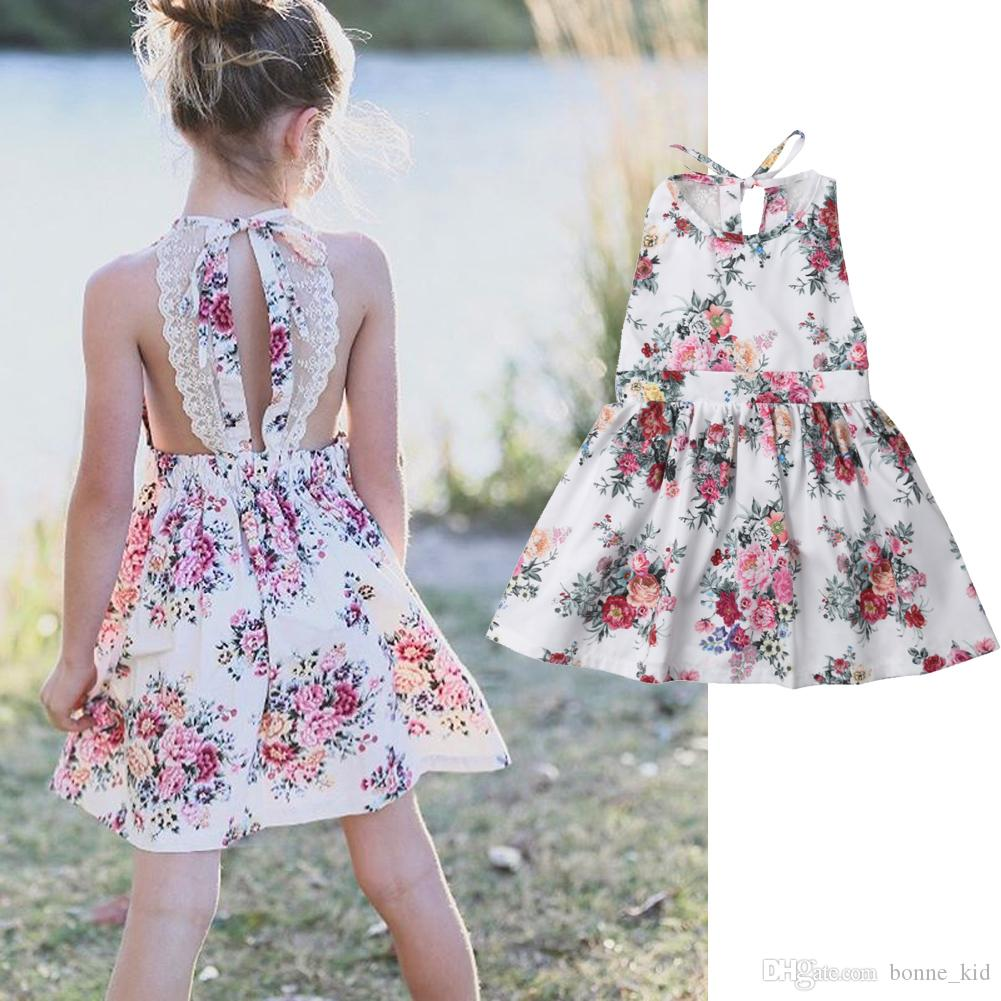 e291dc638 2019 Kids Baby Girls Floral Tutu Lace Princess Dresses Kids Flower ...