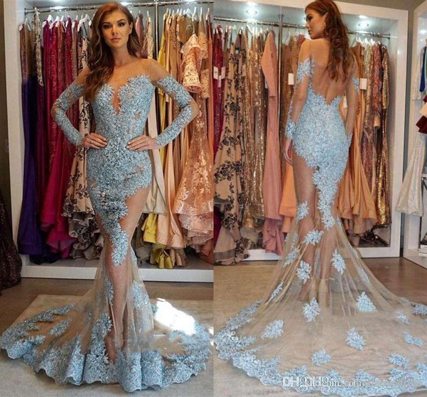 Sexy Open Back Mermaid Evening Dresses 2019 Vintage Long Sleeve Appliqued See Through Women Occasion Dress Party Prom Gowns BC1564