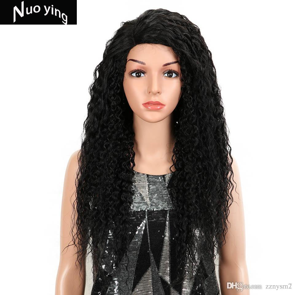 Magic Kinky Curly Hair 26 Inch Kanekalon Heat Resistant Hair Black Highlight Women Side Part Synthetic Lace Front Party Wigs