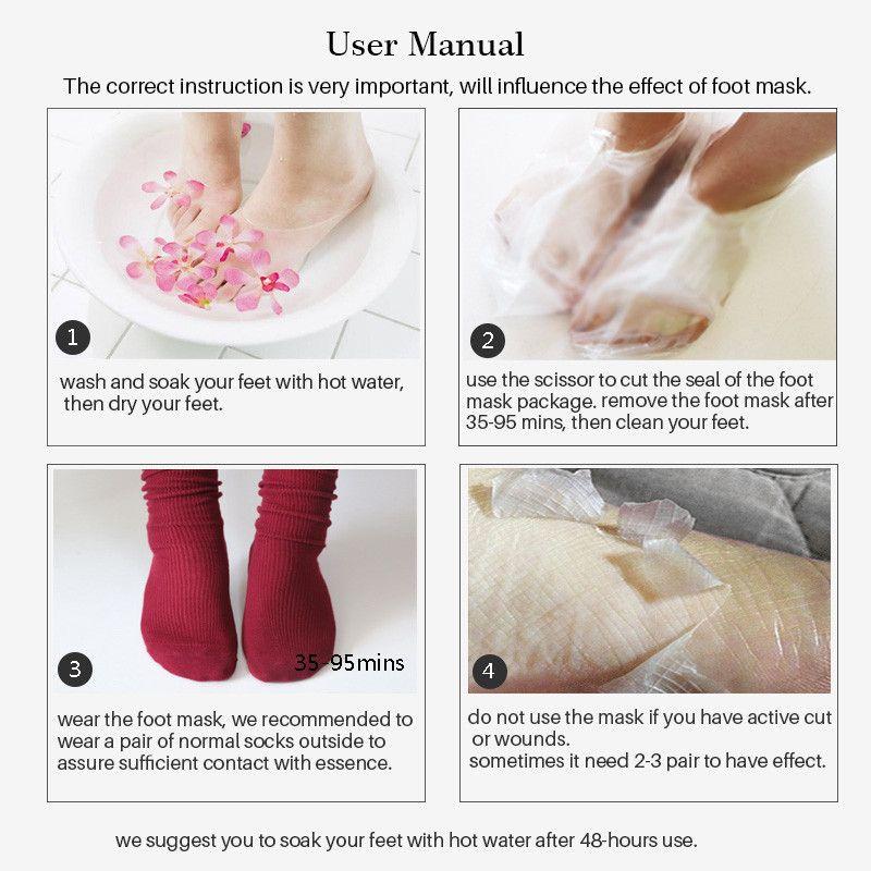 2019 Efero Exfoliating Foot Mask Pedicure Socks Exfoliation Aloe lavender Feet Mask Remove Dead Skin Heels Foot Peeling Mask