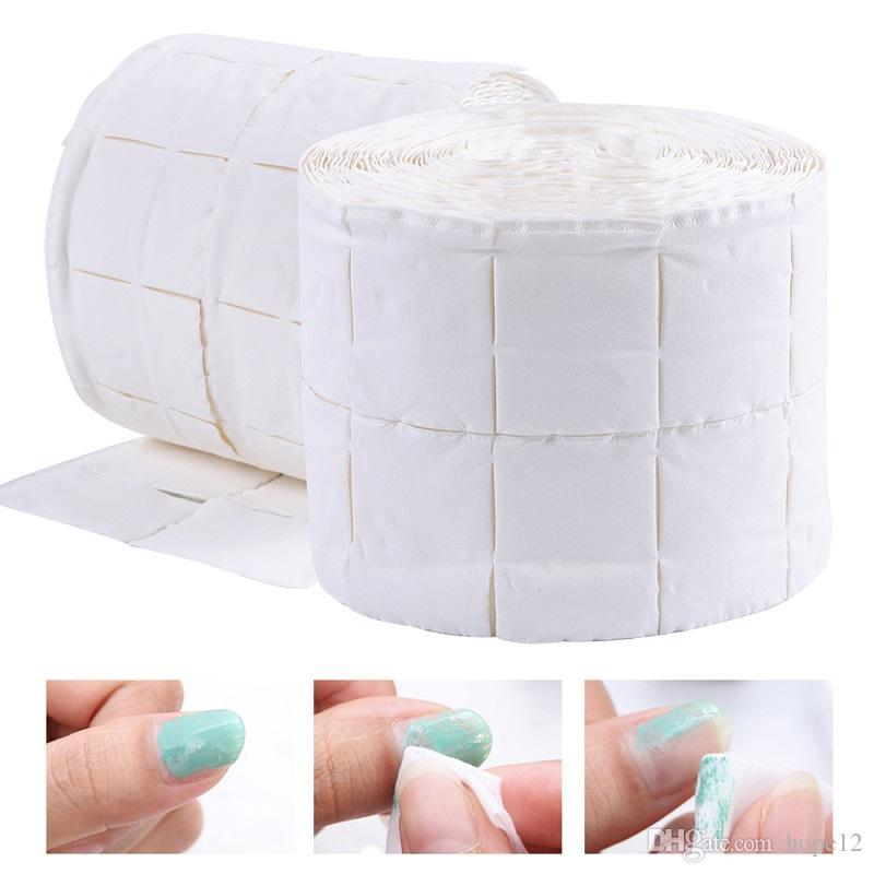 500 unids / rollo Toallitas de algodón Uñas UV Consejos de uñas de uñas Limpiador removedor de esmalte Lint Paper Pad Remojar Nail Art Cleaning Manicure Tool