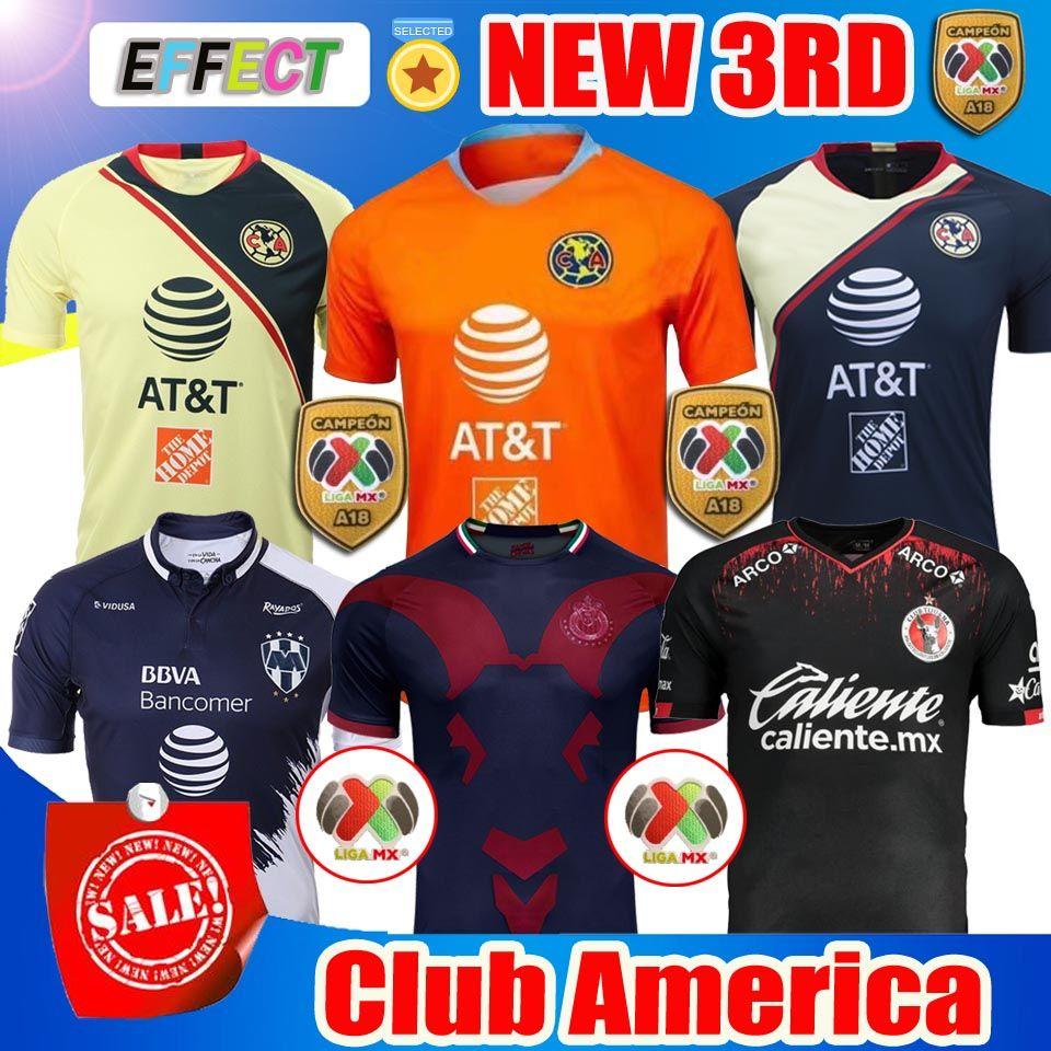 b72e85b0f Acquista 2018 2019 Messico LIGA MX Club America Soccer Jerseys Home 18 19  Apertura A18 CAMPEON Terza Maglia Da Calcio Xolos De Tijuana Chivas Tigres A  ...