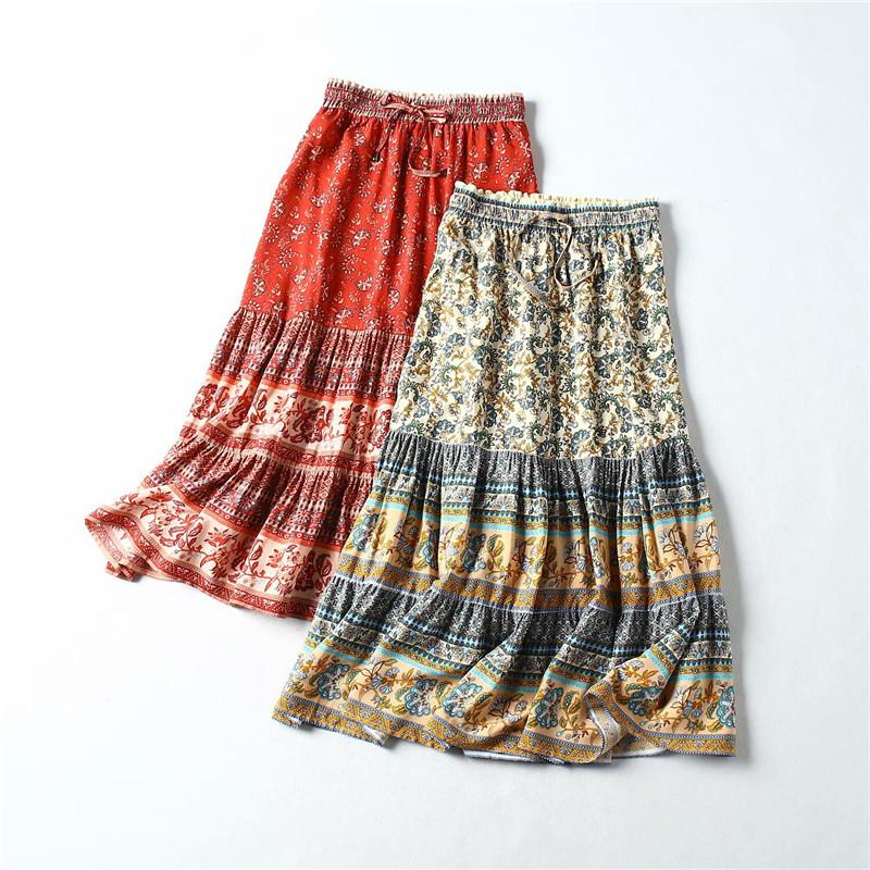 SZMALL Fashion Boho Long Skirts For Female party Print Long Skirts Women Loose Bottoms