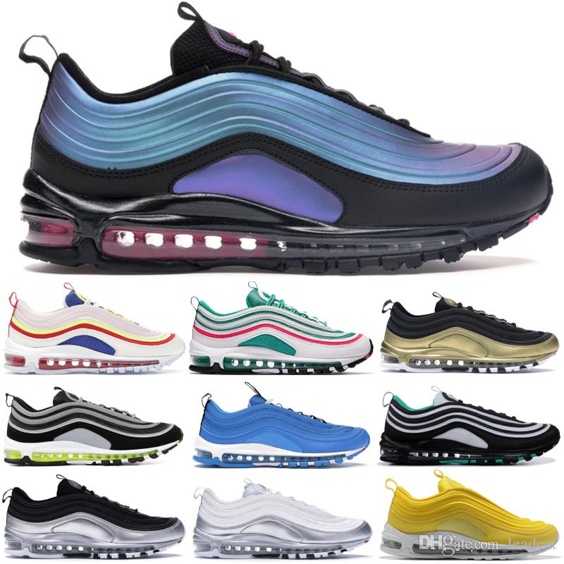 Nike Air max 97 Throwback Future Top qualité Hommes Designer Sneaker Bright Citron Jeu Royal Métallique Triple Blanc Noir Chaussures De Course OG