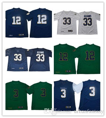 new photos 6d470 8beac Mens Norte Dame Fighting Irish 33 Josh Adams 3 Joe Montana 12 Ian Book  College Replica Football Jerseys Size S to 3XL