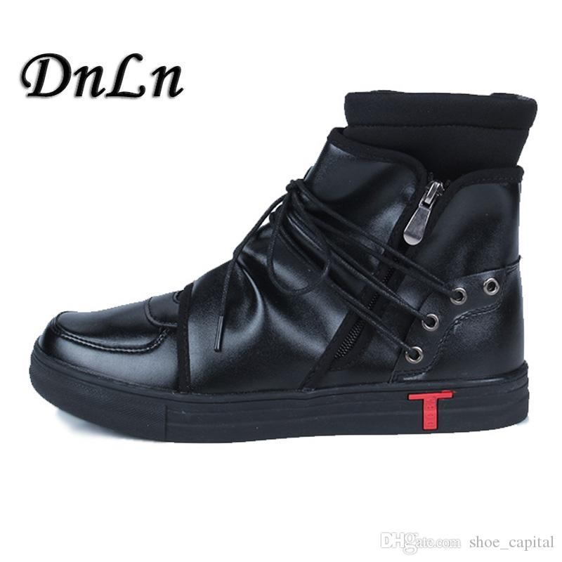 052274fa88a Men Casual Shoes Top Quality Pu Leather Men High Top Shoes Fashion Lace Up  Breathable Hip Hop Black White 25D50 #301022 Cute Shoes Mens Shoes Online  From ...