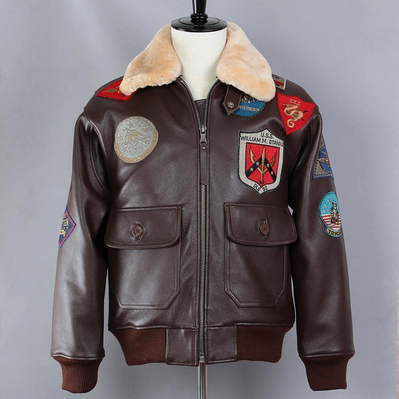 a8f6ba0a21f53 2019 Avirex Fly Badge Flight Jacket Fur Collar G1 Bomber Jacket Men Genuine Leather  Pilot Real Leather Winter Coat From Tallahassed9