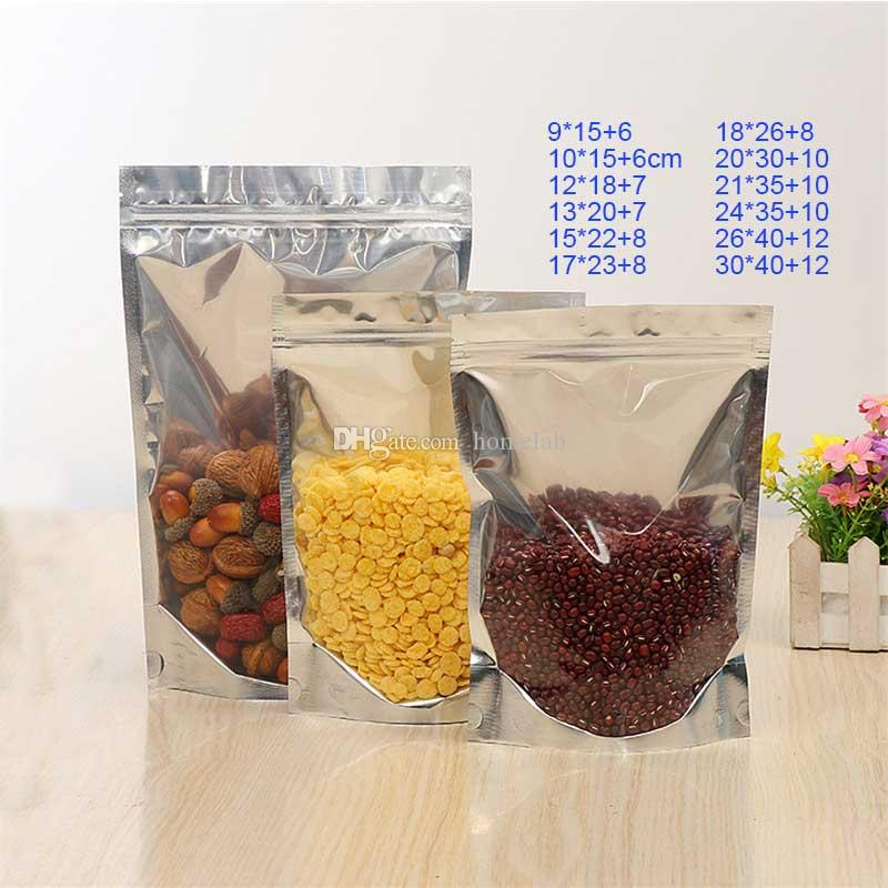 500pcs Bulk Lots Aluminum Foil+PET Empty Seal Bag Packing Bag Opp Bags Pouch Closet Organizer Kitchen Accessories Supplies Customizable size