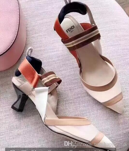 1ccbbccf785 New Women Sandals Mesh Patchwork Stripes Strappy High heels Sandals Pointed  toe Elastic buckle Slingback Ladies Party Shoes