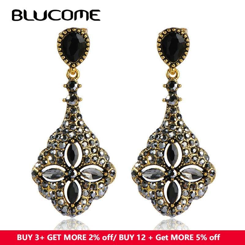 Drop Earrings Blucome Vintage Style New Turkish Earring Jewelry Pendant Flower Crystal Resin Women Wedding Party Dress Exquisite Accessories