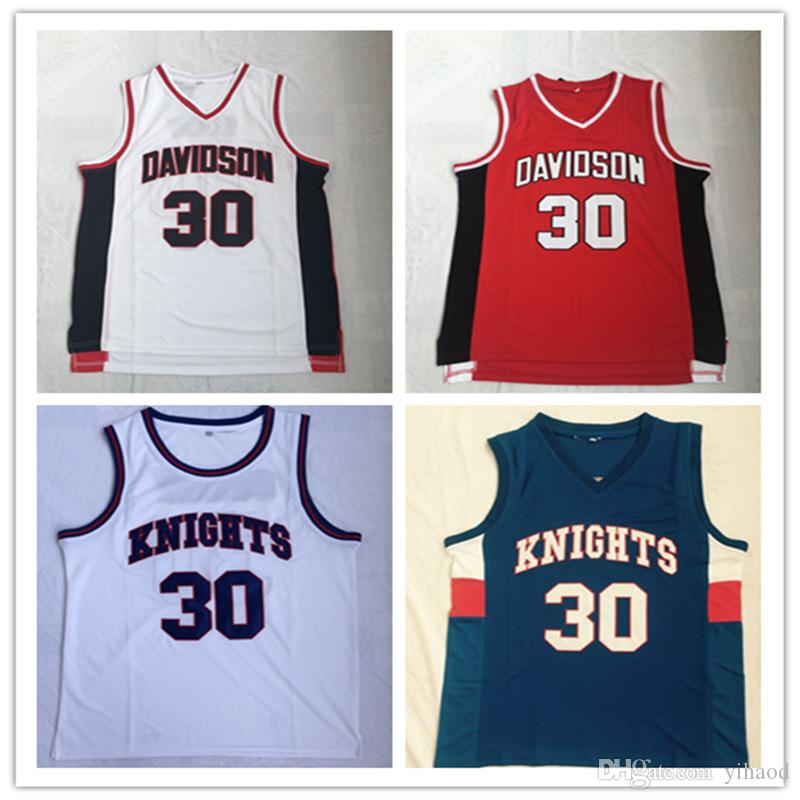 half off f1a0f 70be3 NCAA Davidson Wildcats College Stephen 30# Curry Jersey Men Basketball  Charlotte Knights Curry High School Jerseys Red White Blue Embroidery
