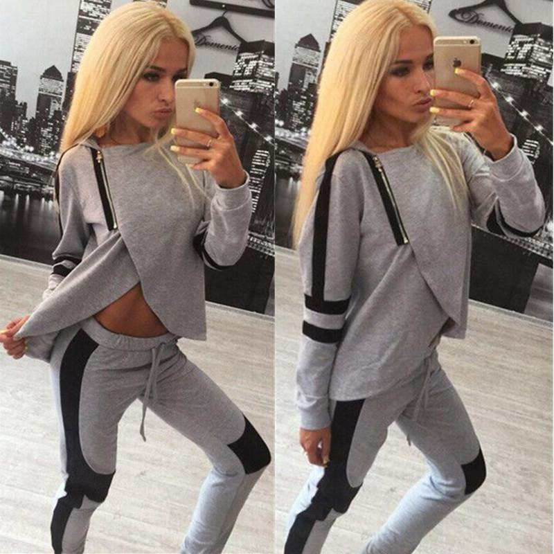 ec7296d0021502 2019 Womens Tracksuit Set Soft Sports Joggers Outfits Zip PINK Up ...