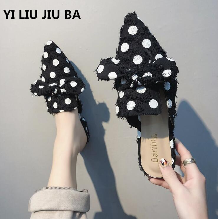 Mujeres Mujer Punta Slip Zapatos Estrecha Zapatillas150 Pajarita On De Sandalias Lunares 2019 Informal Primavera Moda Nuevo Qhtsdr