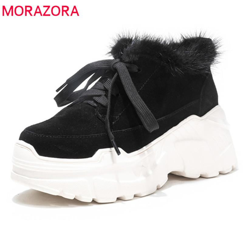 2ac50e9e776bb MORAZORA 2018 Fashion Platform Boots Women Cow Suede Leather Ankle Boots  For Women Lace Up Autumn Winter Casual Shoes Shoe Shops Cheap Shoes For  Women From ...